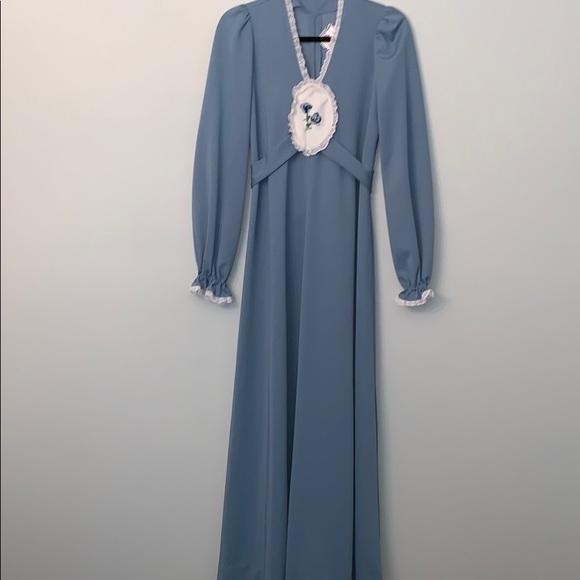 Vintage Dresses & Skirts - Vintage Maxi Dress Size S M  Blue Prairie Flowers